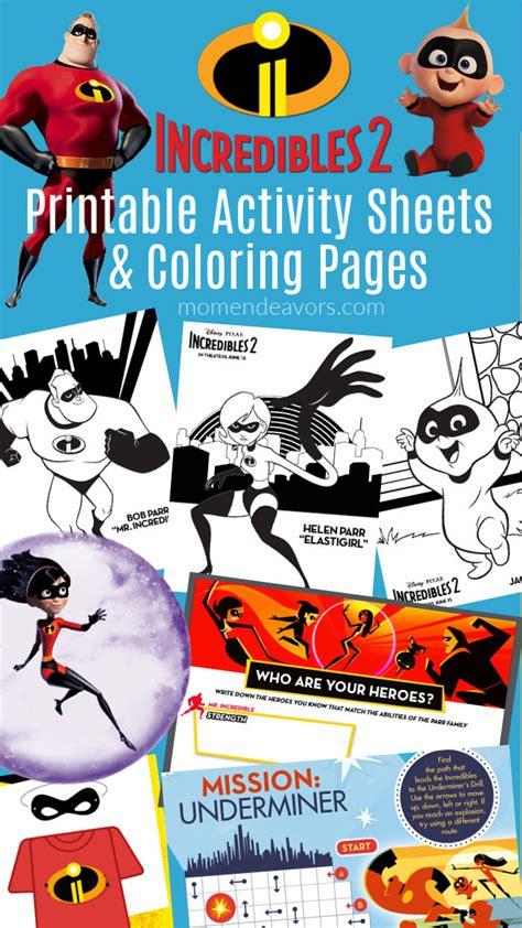 disney pixar incredibles  printable activities coloring