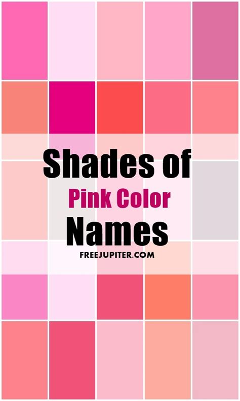 pink color names 50 shades of pink color names