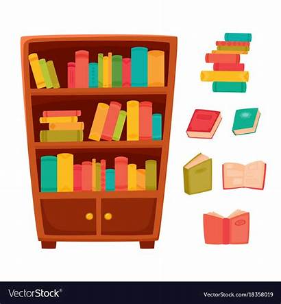 Bookcase Vector Books Shelves Wooden Different Royalty