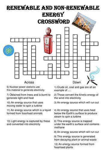 renewable and non renewable energy worksheet physics crossword puzzle renewable and nonrenewable