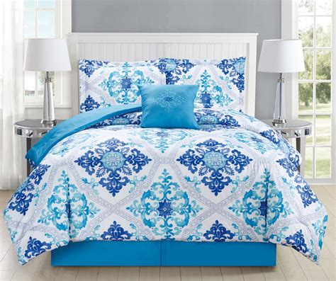 white blue bedding 5 regal navy blue white comforter set 4614