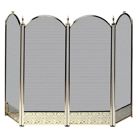 brass fireplace screens uniflame polished brass 4 panel fireplace screen with
