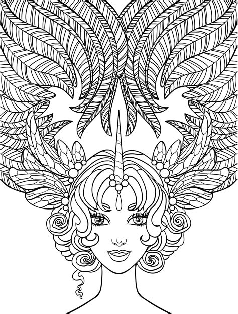crazy hair lady coloring page  adults
