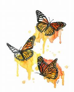 Watercolor Monarch Butterfly Painting Print titled
