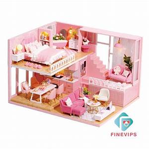 Ready Stock 1  24 Dollhouse Pink 3d Kit Wooden Furniture