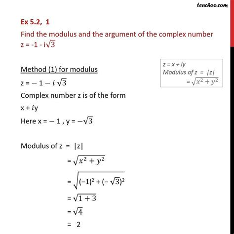 Rcis Salary by Ex 5 2 1 Find Modulus And Argument Of Z 1 I Root 3