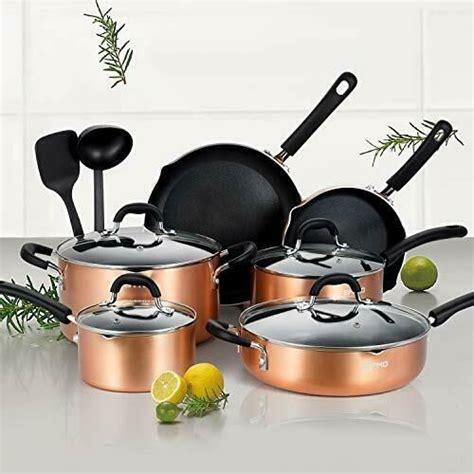 eppmo  piece nonstick cookware set aluminum pots  pans copper cookware sets ideas
