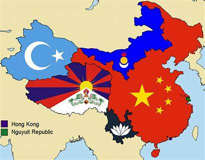 China Map Movements Separatist Claimed Territories Various