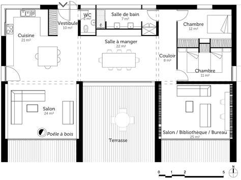 plan maison plain pied 4 chambres avec suite parentale plan de maison en u avec terrasse ooreka