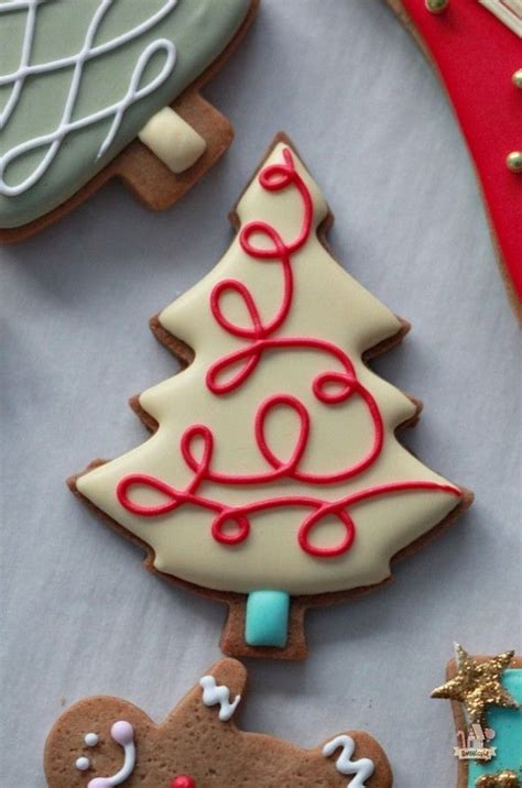 decorated christmas tree cookies baking pinterest