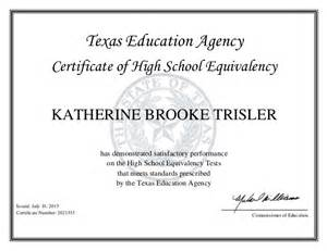 Texas GED Diploma Certificate