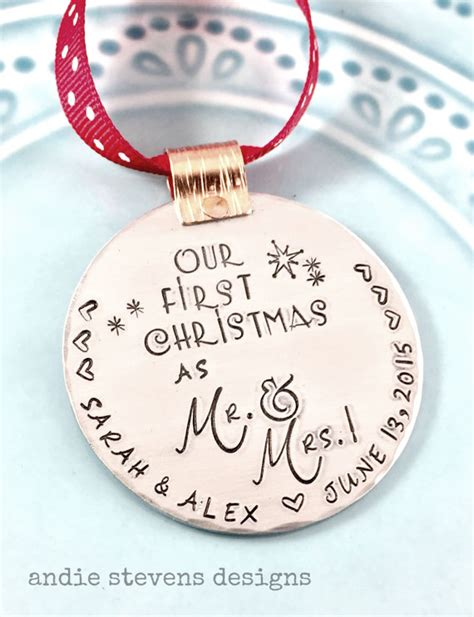 hand sted ornament personalized ornament couples first