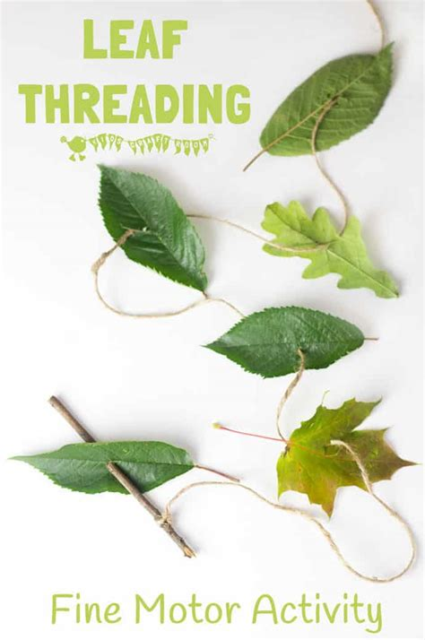 All Natural Leaf Threading  Kids Craft Room