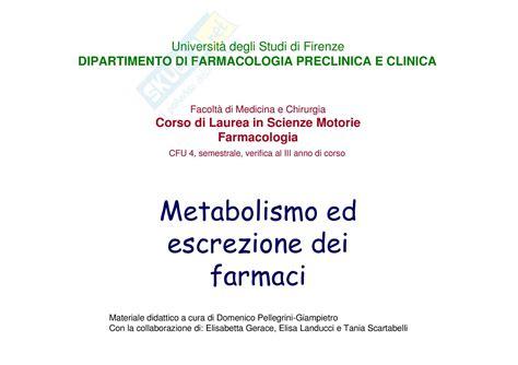 dispense di farmacologia metabolismo ed escrezione dei farmaci dispense