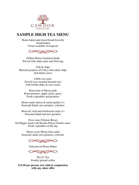 Tea Menu Template by High Tea Menu Template 2 Free Templates In Pdf Word