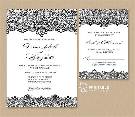 wedding invitation template black lace vintage