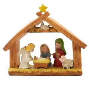 5 quot x 6 quot manger miniature nativity scene set with 2 quot resin