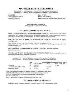 MSDS Product Sheets