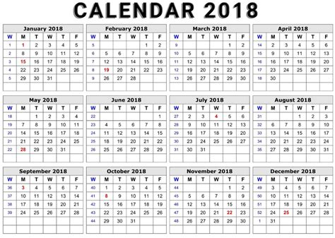 2018 word calendar printable calendar 2018 word document format