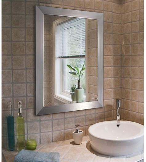 "Modern Bathroom Hanging Mirror 26""x32"" Wall Mount Brushed"