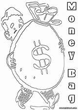 Money Coloring Bag Colorings sketch template