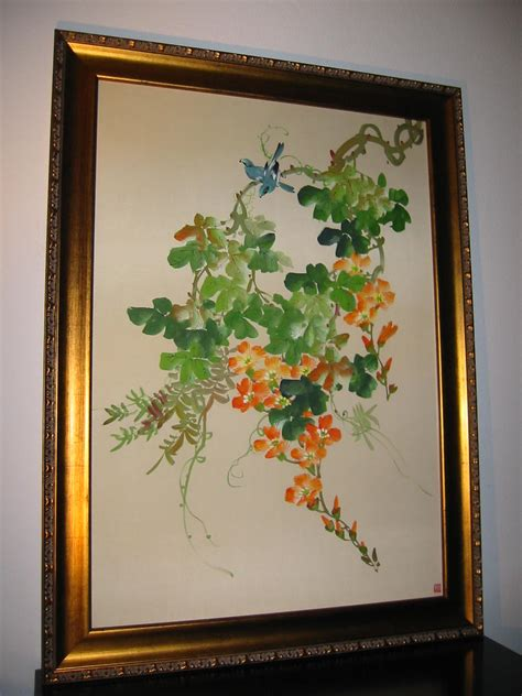 botanical japanese silk painting flowers  bird