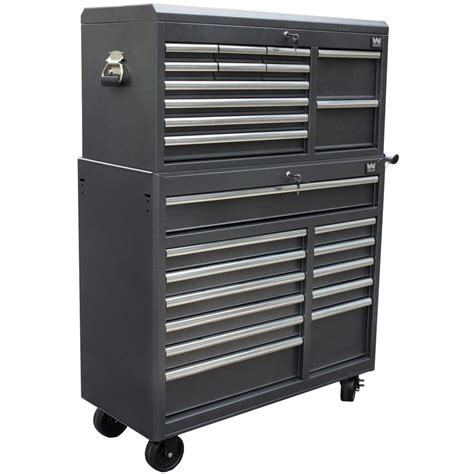 wen 41 in 24 drawers combo tool chest and cabinet powdercoat black 77041 the home depot