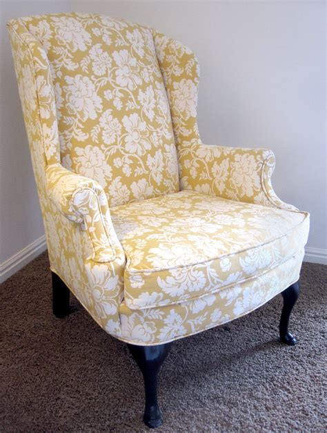 chic yellow white chair cover for wingback chair on grey