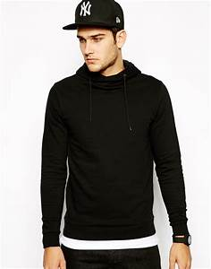 Asos Hoodie with Crossover Neck in Black for Men | Lyst