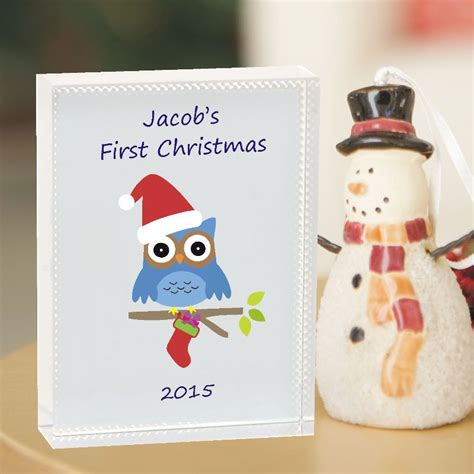 owl 1st christmas crystal personalised baby s first