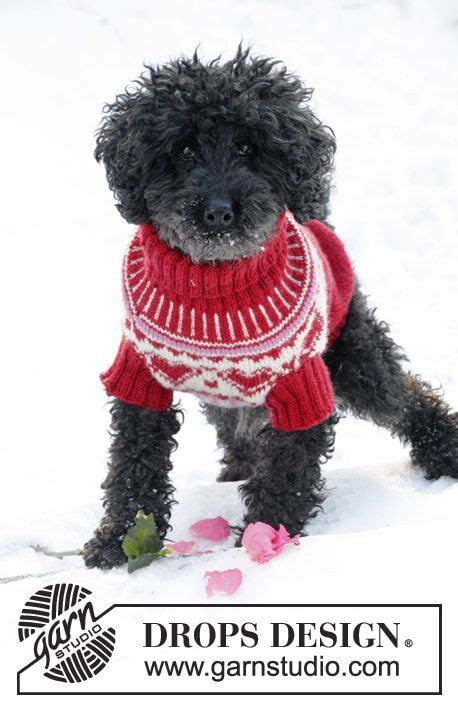 hundepullover xs stricken strikket drops hundegenser til i karisma med hjerter str xs l drops design