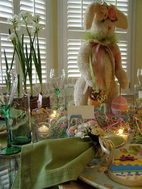 easter table setting tablescape  bunny centerpiece