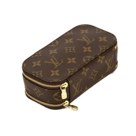 louis vuitton brown monogram canvas trousse blush pouch