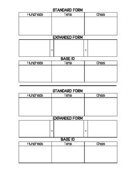 Standard Form, Expanded Form, and Base Ten Template by