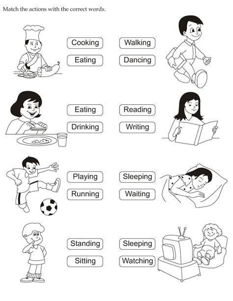 Download English Activity Worksheet Match The Actions With The Correct Words From