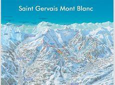 France,Saint Gervais MontBlanc slopes, ski map Saint