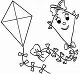 Coloring Kites Boys Simple Kite Pages Happy Children sketch template