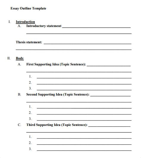 Essay Outline Template 8 Best Images Of Printable Outline Format Blank Essay