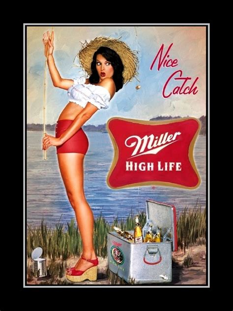 arleyart com miller high life beer advertising poster kitchen bar wall art fishing pin up art print