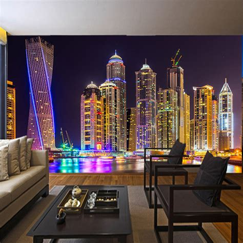 custom  photo wallpaper dubai night view city building