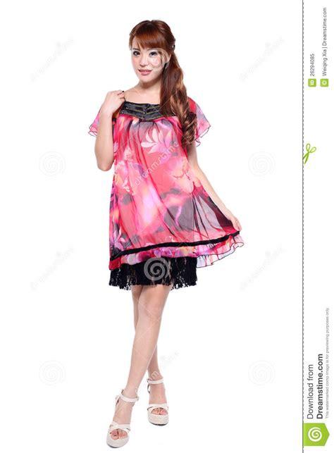 Beautiful Model And Dressed Beautiful Fashion Model In Modern Dress Stock