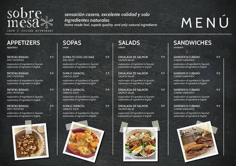 Modern coffee menu template free vector. Sobremesa Coffee and Kitchen needs a food menu. | 22 Menu Designs for a business in Honduras