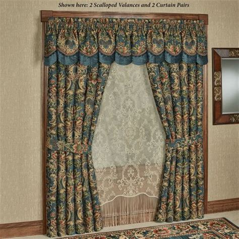 casanova jacobean floral dark teal window treatment