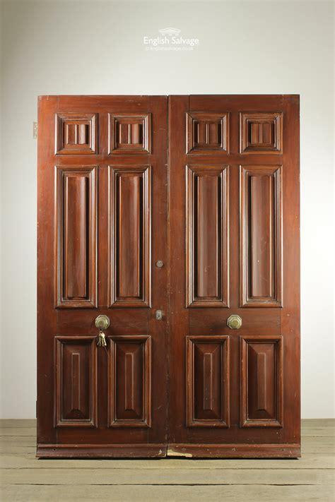 salvaged pair   panel oak double doors