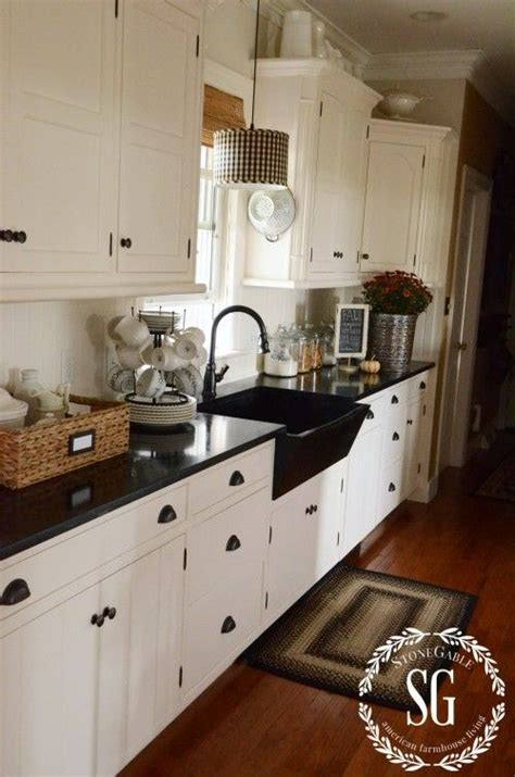 kitchen cabinets with black granite countertops fall house tour for the house black sink 9831