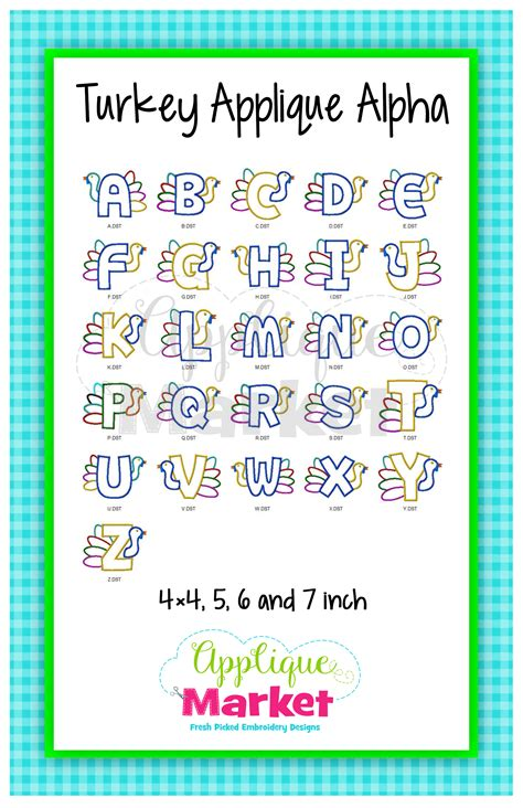 turkey applique alphabet