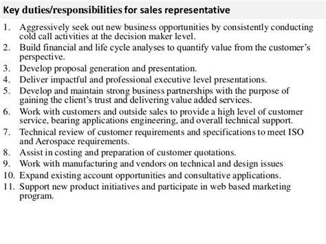 sales representative description sle