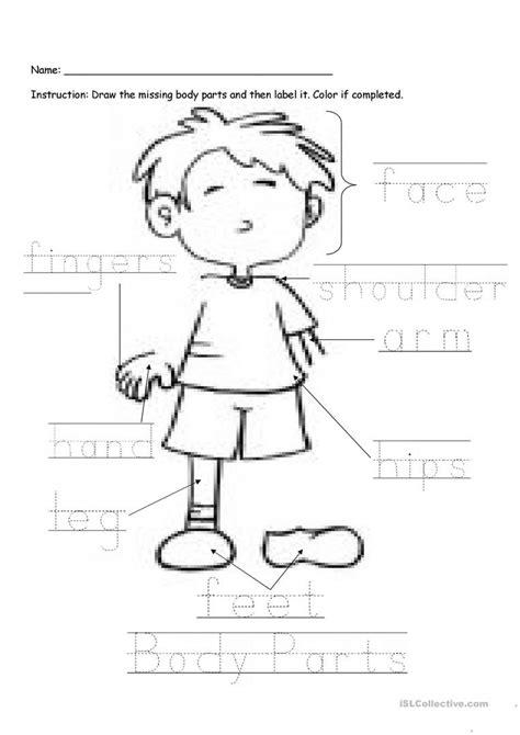 printable worksheets parts body kindergarten letter