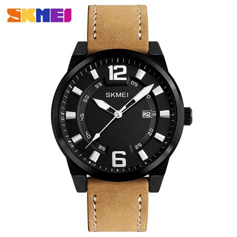 skmei jam tangan kulit pria 1221 black