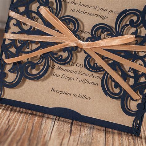 Wishmade Navy Blue Rustic Square Laser Cut Wedding